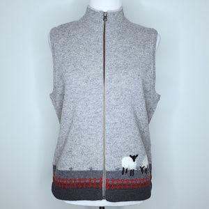 Woolrich Lambswool Sweater Vest Size Medium Gray
